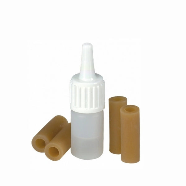 Wolf rubber tip replacement kit for Shoulder Rests, shown 4 rubber tips plus lubricant