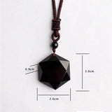 Black Obsidian Cubic Hexagram Pendant Necklace