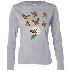 Monarchs and milkweed Ladies long-sleeve