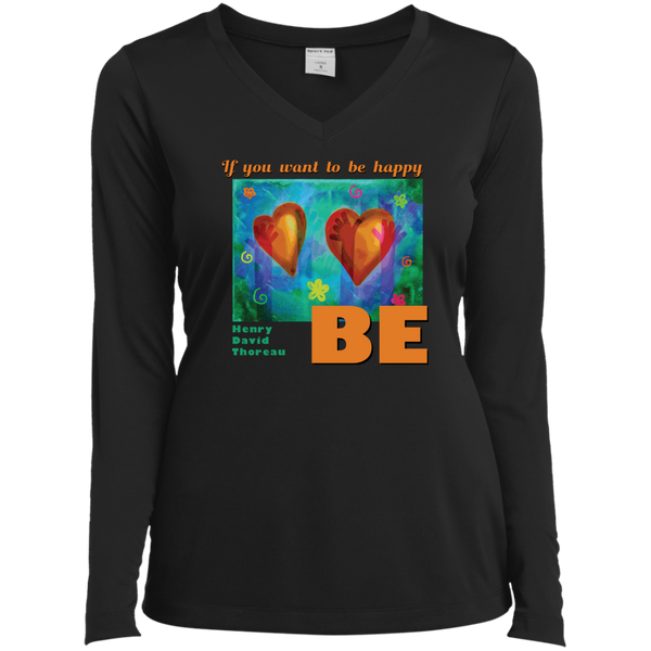 Mindful Happiness—Ladies Long Sleeve Performance Vneck Tee