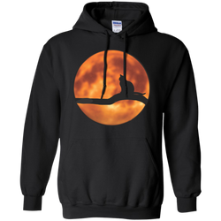 Cat & Harvest Moon—Pullover Hoodie 8 oz