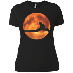 Cat & Harvest Moon—Next Level Ladies' Boyfriend Tee