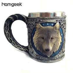Stainless Steel 3D Resin Wolf Mug