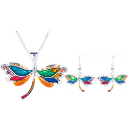 Multicolor Enamel Dragonfly Necklace-Earring Set