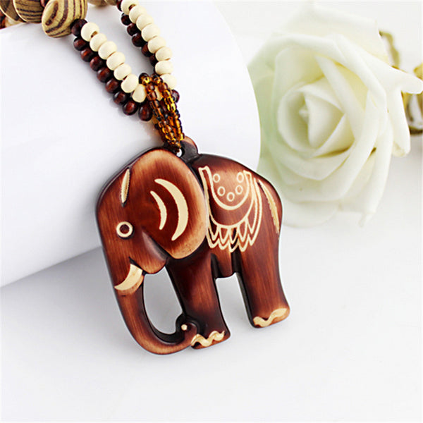Hand-Carved Wood Elephant Pendant Necklace