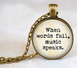 "Vintage Choker Necklace  ""When words fail, music speaks."""