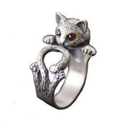 Cat Lovers' 925 sterling silver ladies' adjustable ring