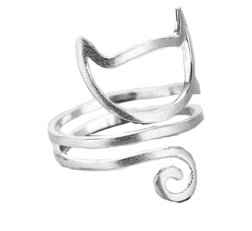 Adjustable Cat Ring with Twining Tail from 925 Sterling