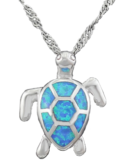 BlueFire Opal SeaTurtle Pendant Necklace