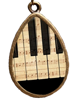 Piano Keyboard-Sheet Music Tear Drop Pendant