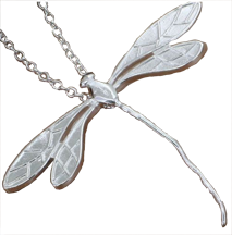 Silver plated dragonfly pendant