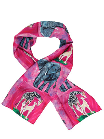 Animal Viscose Scarf- Giraffe and Elephant - Kelly and Full Circle