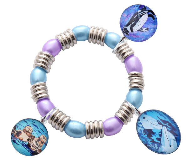 sea otter penguin dolphin stretch charm bracelet