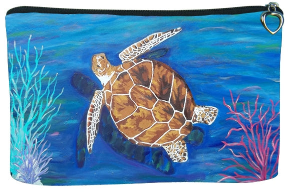 loggerhead sea turtle zipper pouch