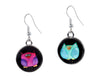 mismatched colorful owl earrings