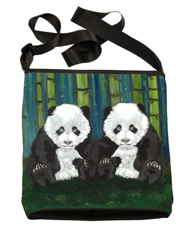 Panda cubs large cross body bag