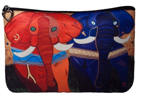 colorful african elephant make-up bag
