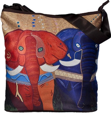 colorful african elephant large cross body bag