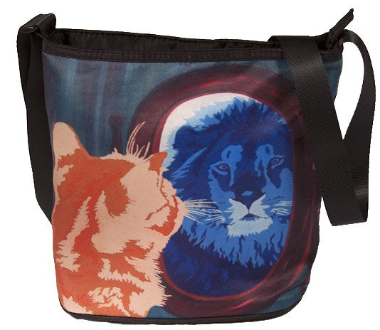 cat looks in mirror and sees his reflection as a lion large cross body bag