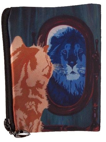 cat looks in mirror and sees a lion coin purse