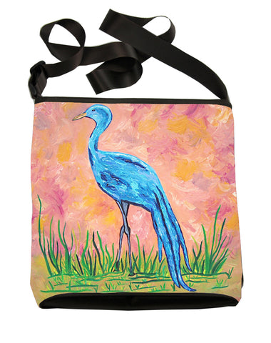 blue crane large cross body bag