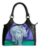 rhino vegan purple leather bag
