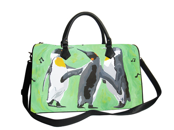 penguin vegan leather shoulder bag with detachable strap