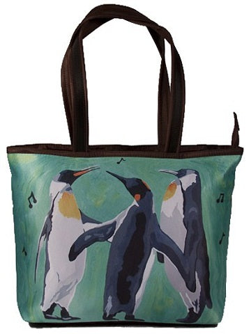 christmas penguins tote bag