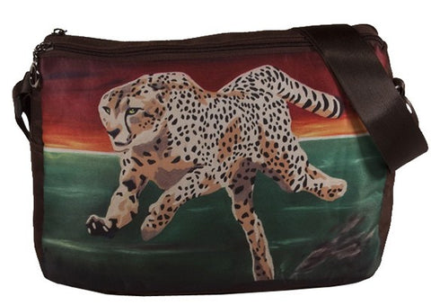 running cheetah messenger bag