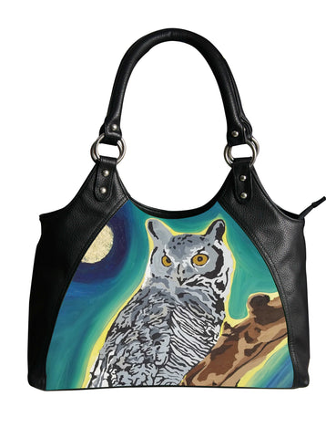 great horned owl vegan leather bag
