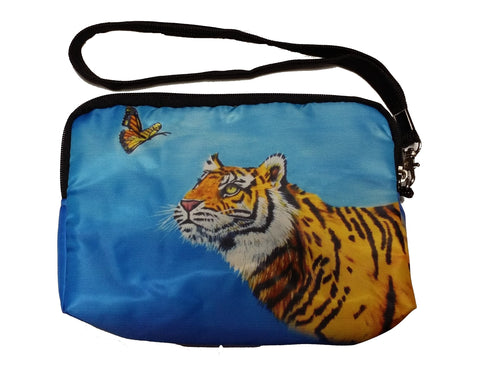 tiger looking at butterfly wristlet