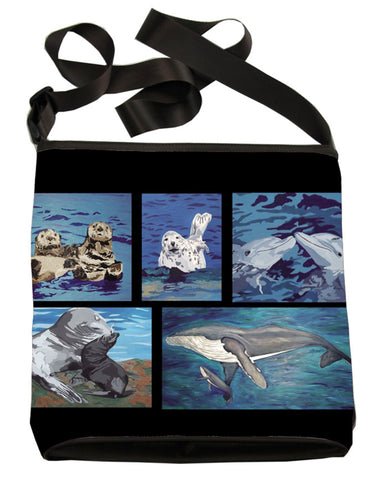 ocean animals patchwork cross body bag