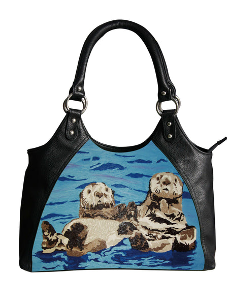sea otter vegan leather shoulder bag