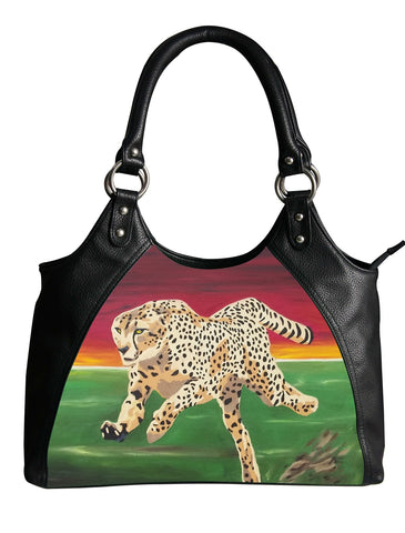 cheetah vegan leather handbag