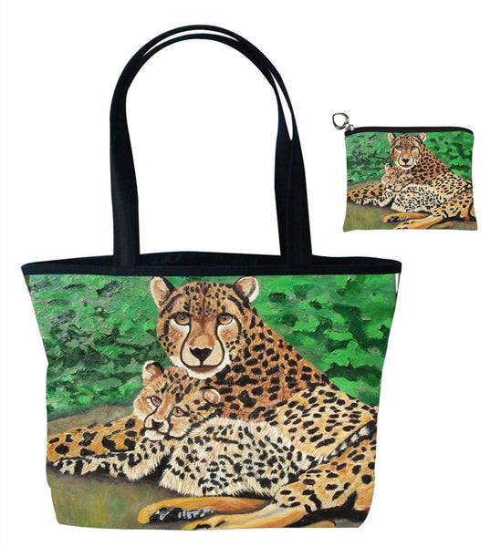 cheetah tote bag and matching coin purse