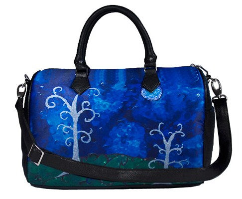 whimsical trees vegan leather bag