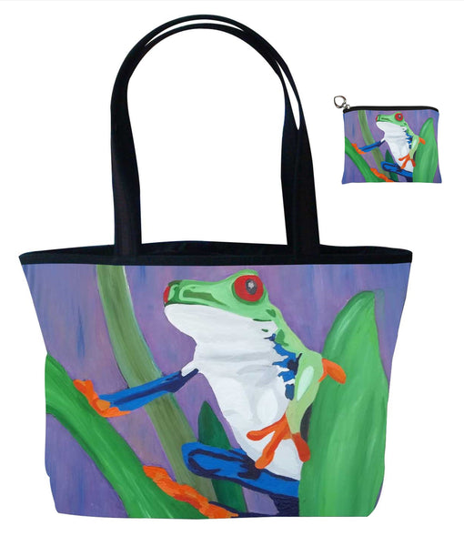 costa rican red eyed tree frog matching tote bag and coin purse