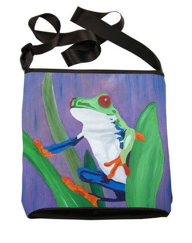 costa rican red eyed tree frog large cross body bag