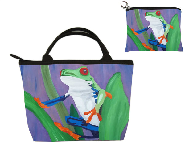 frog matching bag set purse and coin purse wallet
