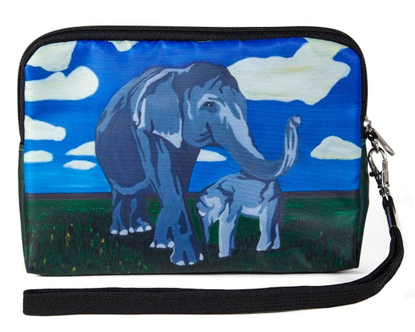 asian elephant zip around wristlet