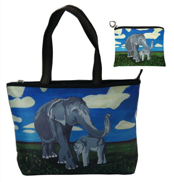 asian elephant tote bag and matching change purse
