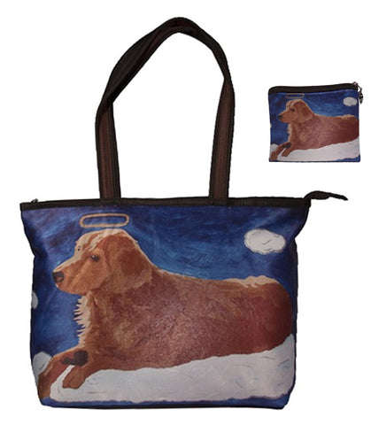 Golden retriever matching tote bag and coin purse
