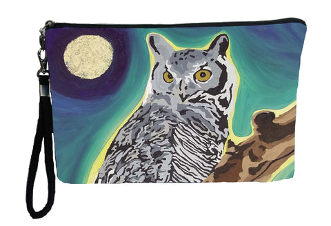 great horned owl wristlet