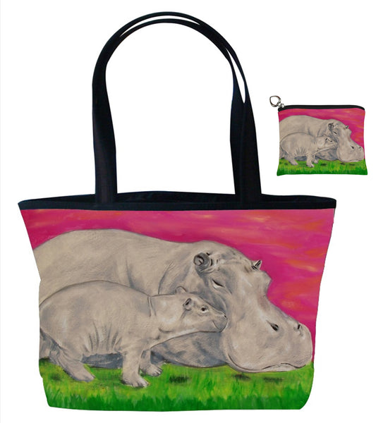 hippo tote bag and matching coin purse