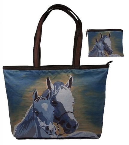 horse shoulder bag and matching change purse