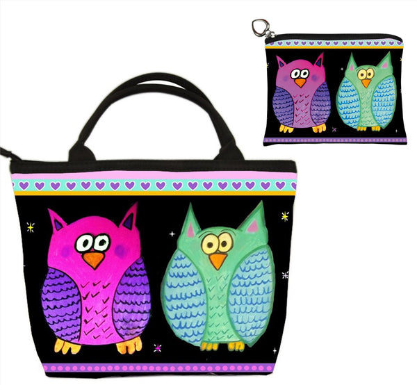 Adorable owls matching handbag and coin purse