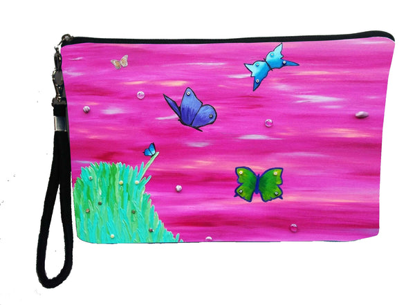Butterflies large wristlet art bag