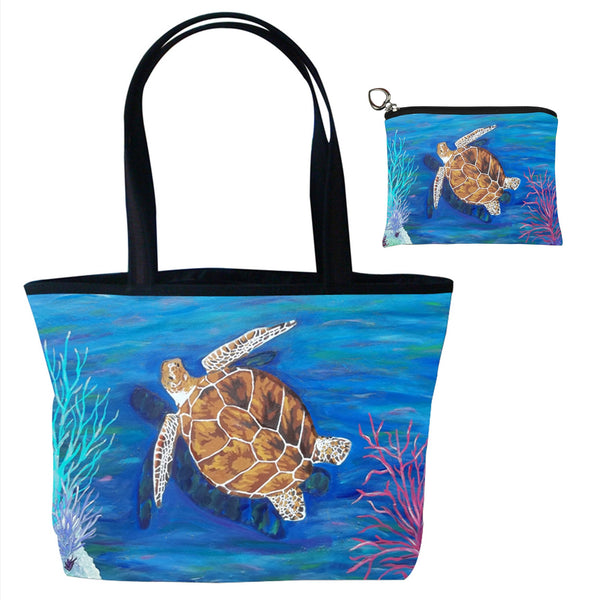 loggerhead sea turtle matching tote bag set with coin purse