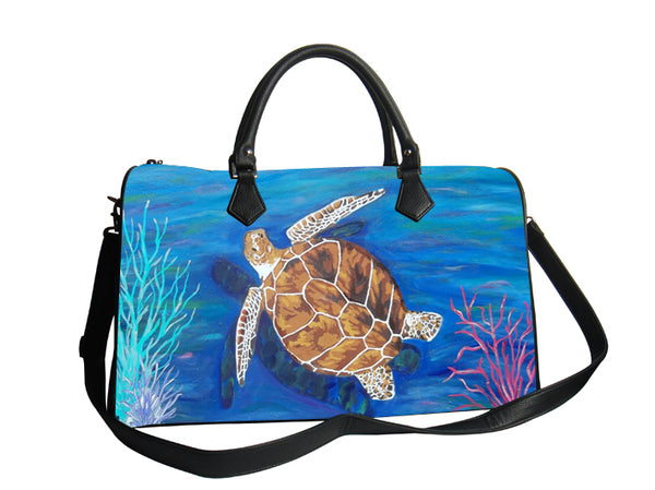 loggerhead sea turtle vegan leather bag