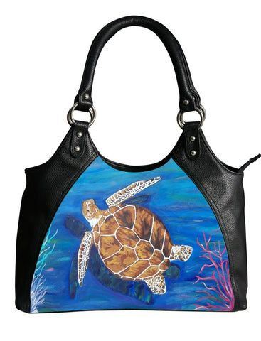 loggerhead sea turtle leather shoulder bag